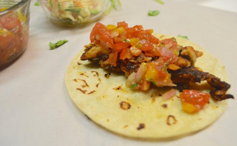 Fish Tacos: Slaw, Pico De Gallo & Avocado CilantroSauce.